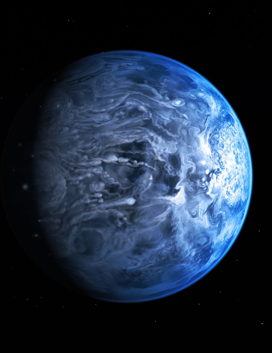 On exoplanet HD 189733b, winds reach seven times the speed of sound and it rains glass. (Image: NASA, ESA, M. Kornmesser) https://t.co/oUYy5EnIpy