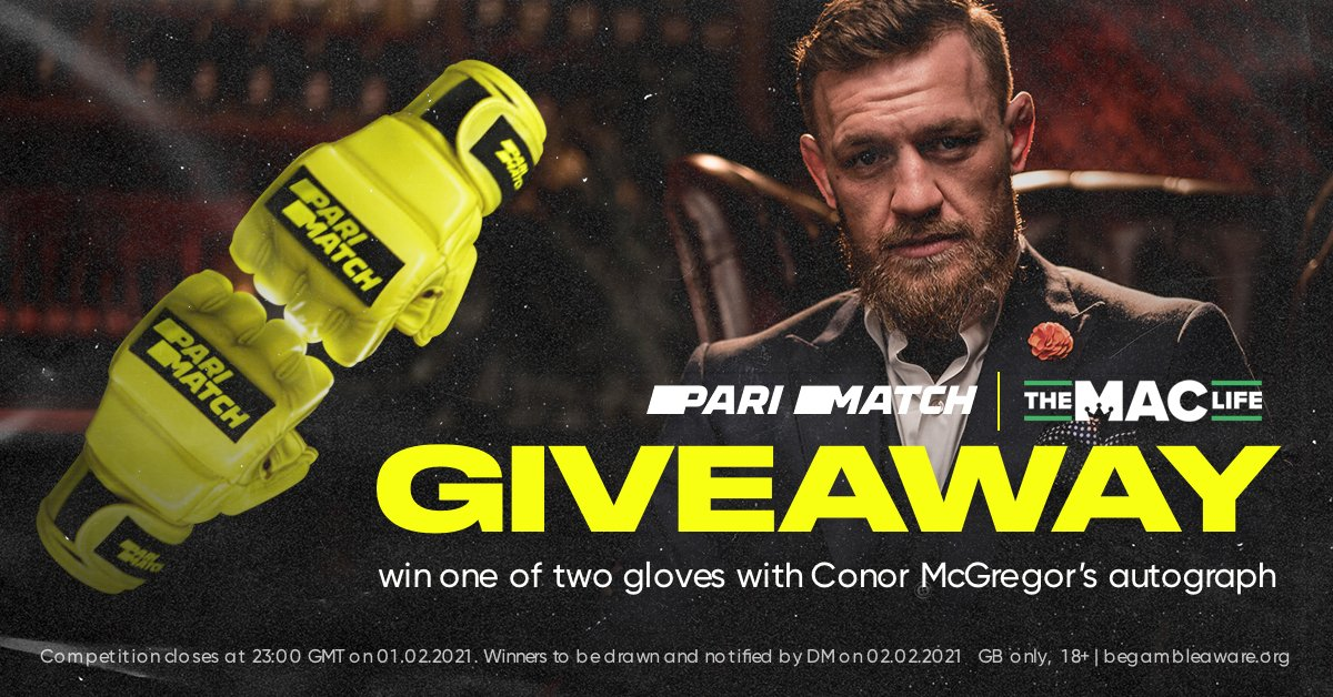 Bragging rights for a lifetime! Opt In for a chance to win the worlds most Notorious Wall Ornament!  A Signed #MMA Glove from #UFC star #ConorMcGregor  To enter: 1️⃣ Follow @ParimatchUK & @maclifeofficial  2️⃣ Retweet this post 3️⃣ Comment below with your favourite McGregor moment