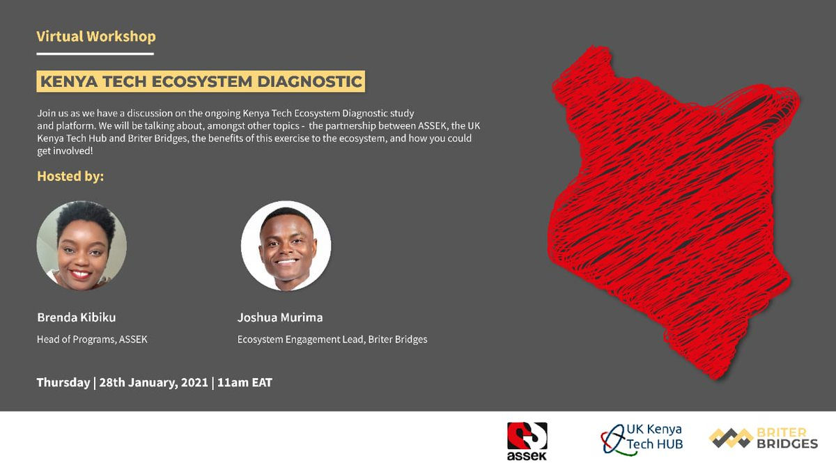 Join the discussion with @Briter_bridges on January 28th, 11:00 a.m. to 12 p.m., and learn about the ASSEK, Briter, and the  UK KENYA tech Hub partnership, how it is spotlighting the local innovation space and how you can access the platform. Register Here: