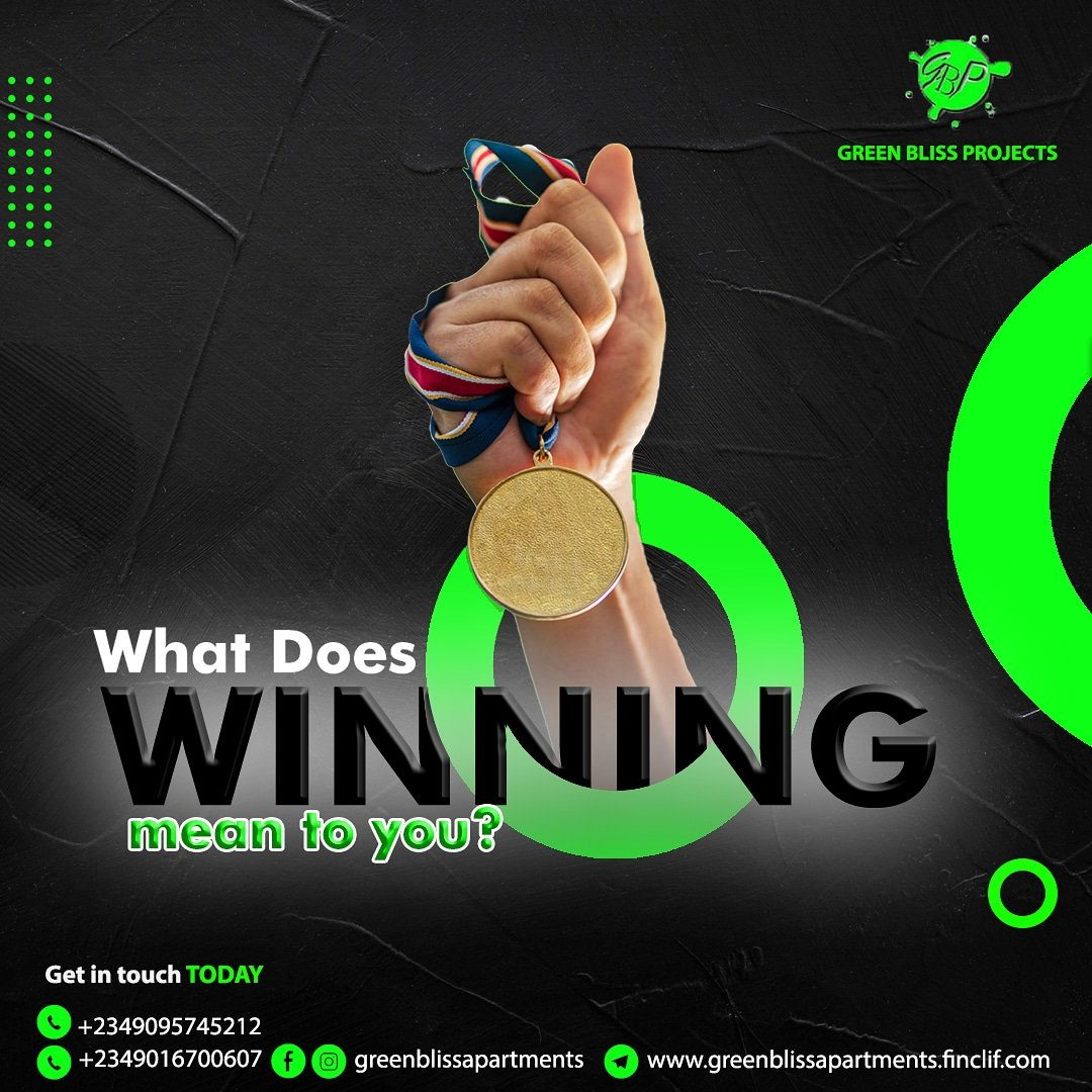 As a business owner,  an employee or in your personal life, what does winning mean to you?  Do you  know that you can win without being first, and you can still lose coming out on top?   #MondayMotivation #winning #lagosapartments