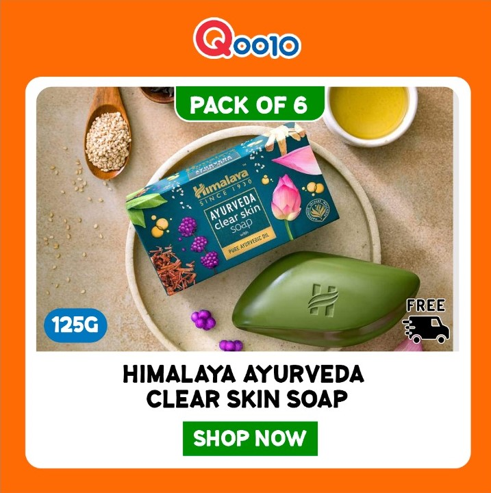 Himalaya Ayurveda Clear Skin Soap with pure ayurvedic oil. Helps reduce blemishes and dark spots. Try now! #ayurveda #beautysecret #beauty #soap #sale #Himalayaherbal #paydaysale #Qoo10India
