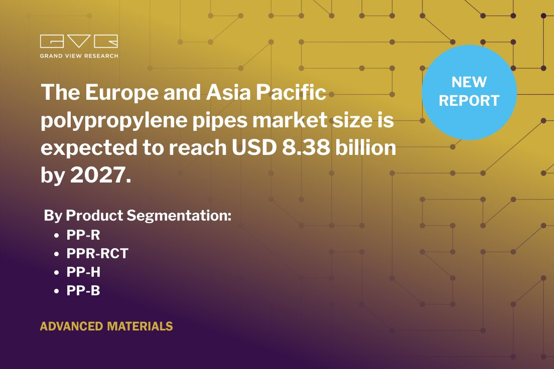 #GVR #experts predict the #Europe and #AsiaPacific #polypropylene #pipes market is anticipated to be driven by the rising #demand for flexible pipes and increasing #renovation & #repair of traditional #piping #systems in industries. Read more @