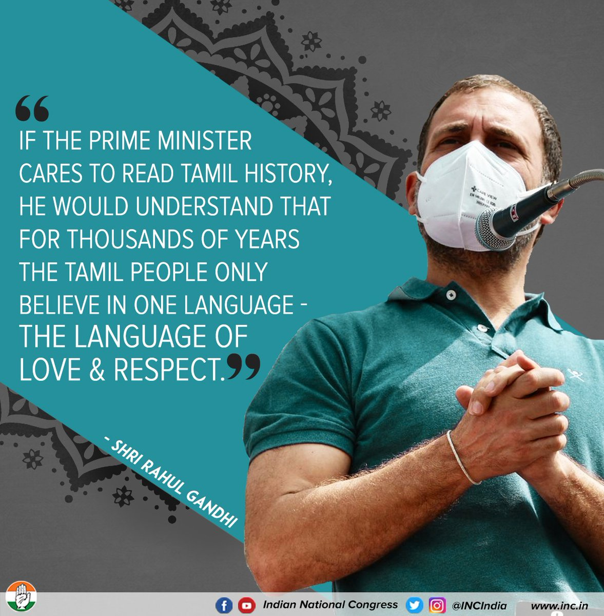 It's a shame the BJP does not speak the language of India: the language of love, respect & unity.