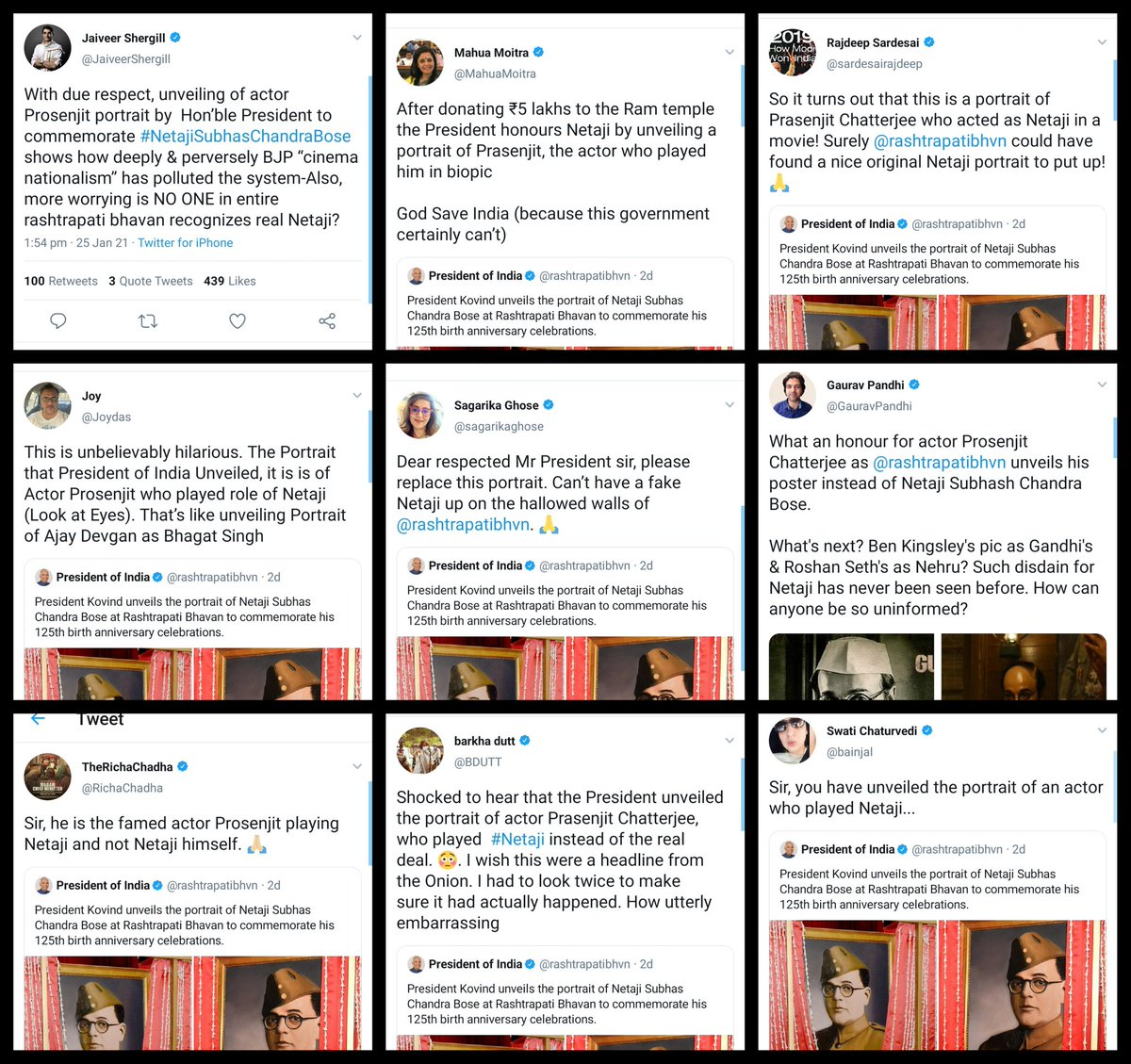 Tag the Congress IT Cell whatsapp group journalists sharing Fake News on Netaji.