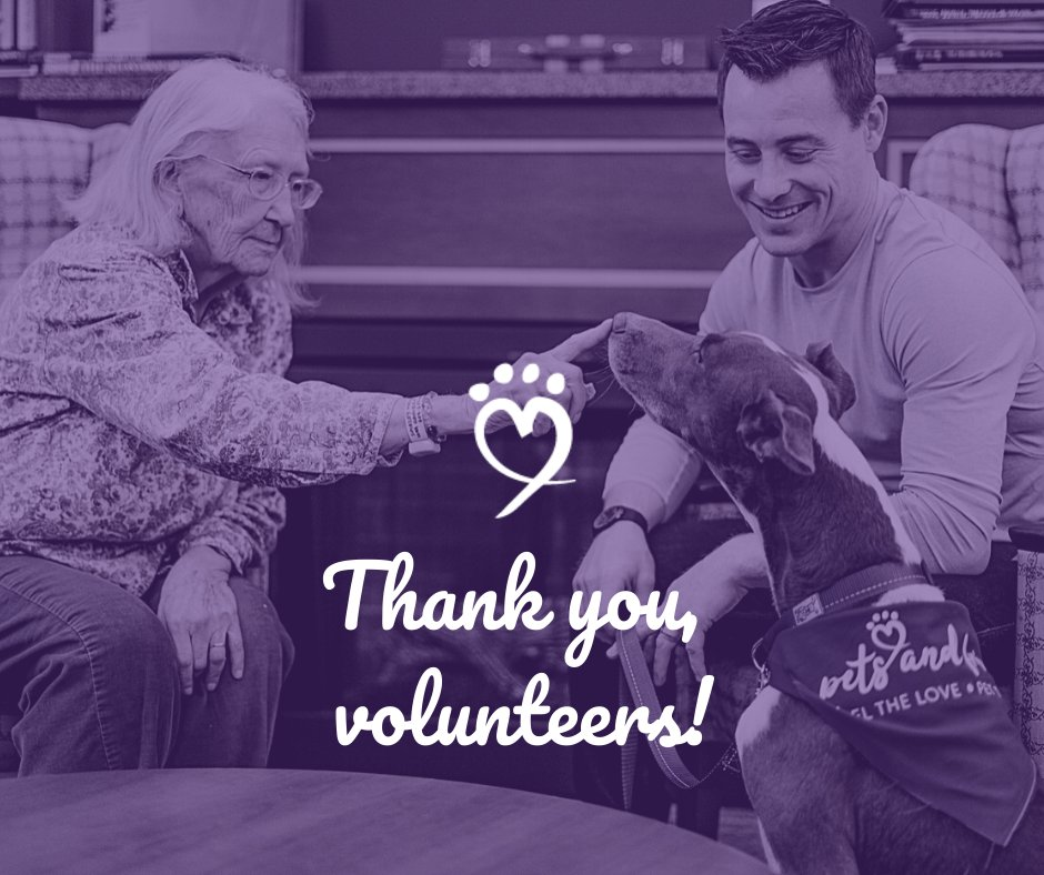 Thank you to our volunteers for helping to make pet therapy happen through Pets and Friends!  #thankfulthursday #pettherapy #therapydogs #petsandfriends #feelthelove
