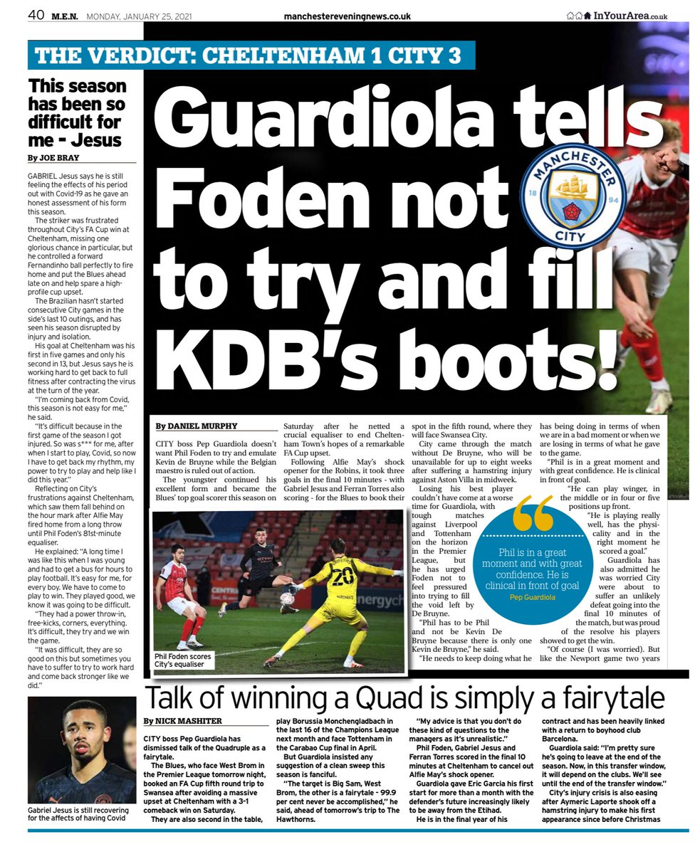Inside today's  Manchester Evening News (Sport) 🔘Guardiola tells Foden not to try and fill KDB's boots! 🔘No fringe benefits as City escape humiliation  #mcfc #mancity