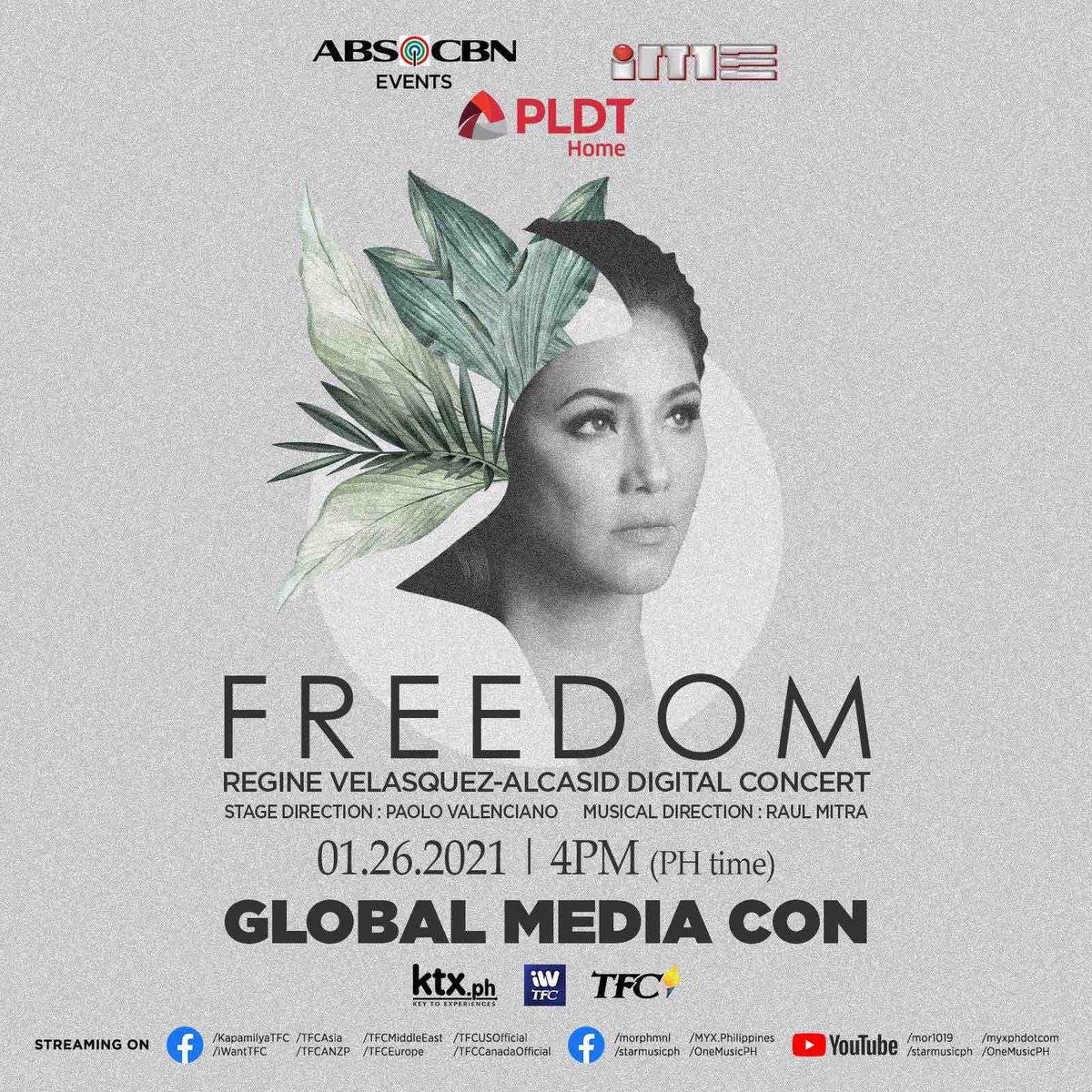 "Catch Asia's Songbird, @reginevalcasid as we talk more about her upcoming digital concert  ""FREEDOM"" on our GLOBAL MEDIA CON tomorrow, January 26 at 4pm (PH time).  We're streaming live from our Star Music Facebook Page and YouTube Channel! #FREEDOMMediaCon"