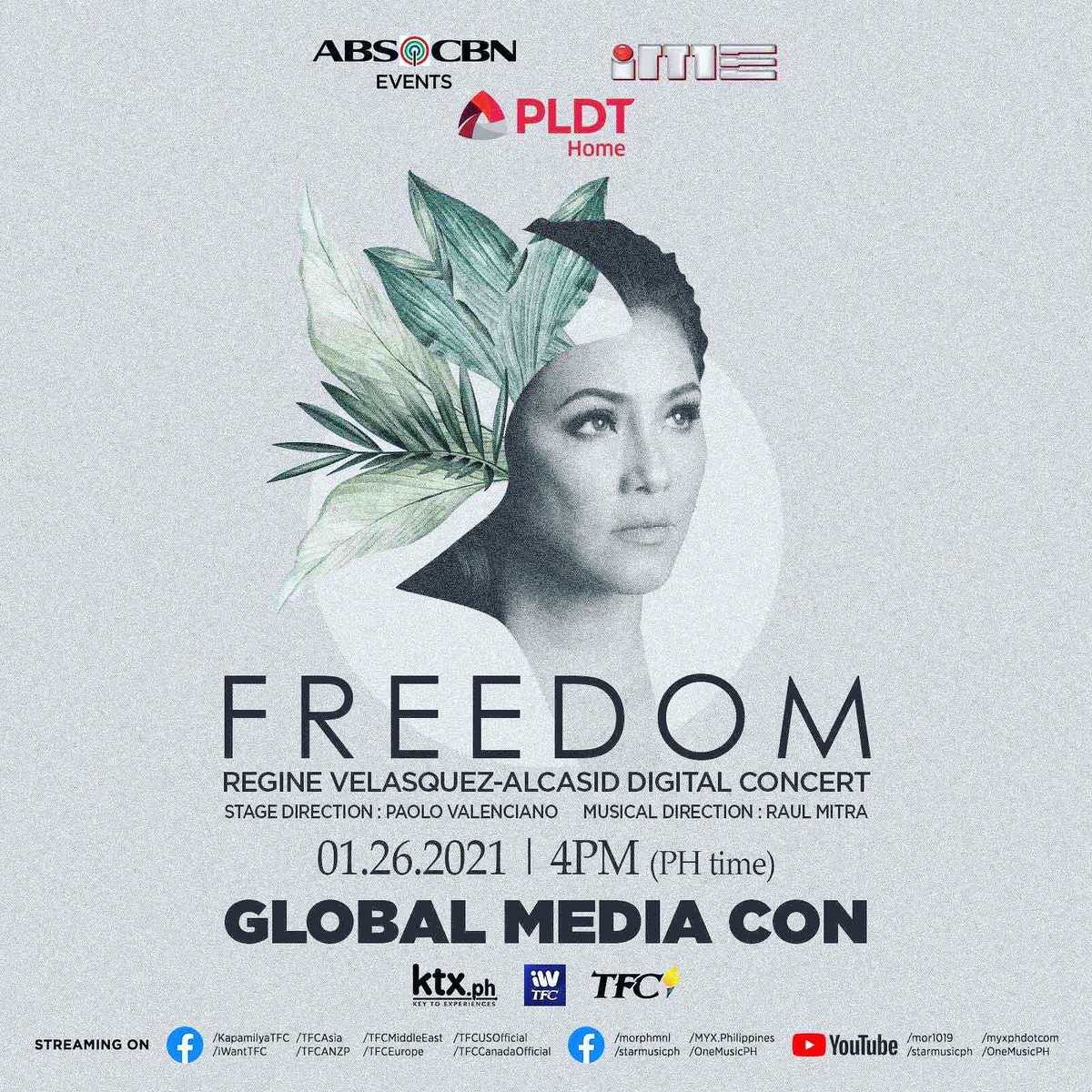 "Catch Ms. Regine Velasquez-Alcasid as we talk more about her upcoming digital concert  ""FREEDOM"" on our GLOBAL MEDIA CON January 26, 2021 4:00pm to 6:00pm (PH time). We're streaming live on the following facebook pages and youtube channels posted on this artcard #FREEDOMMediaCon"