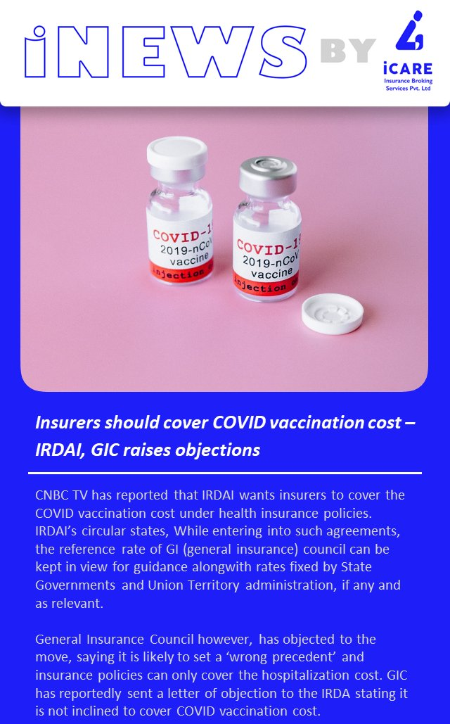 #IRDA wants #insurers to cover #COVIDvaccine  cost, #GIC objects  #insurance #insuranceindustry #insurancesolutions #insuranceagency #insurancenews #COVID Source: Moneycontrol
