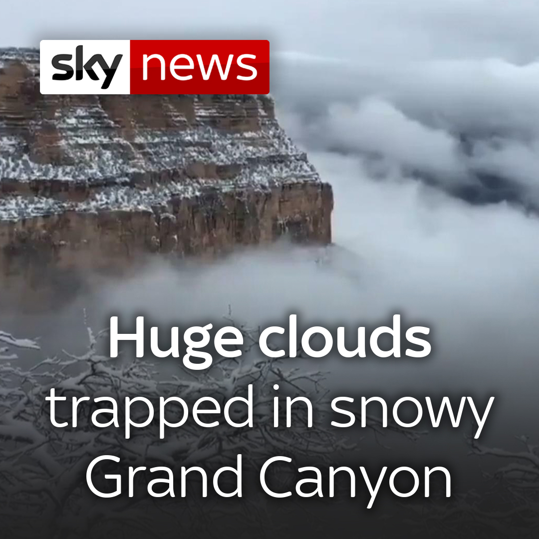 This natural phenomenon, called 'partial cloud inversion', occurred due to warm air covering cold air trapping clouds in the Grand Canyon.  Latest videos here: