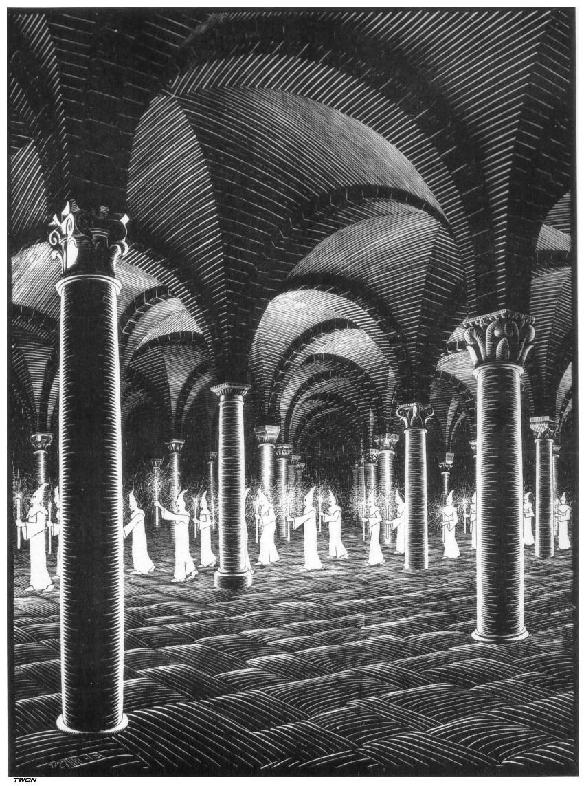 Procession in Crypt, 1927 #mcescher #escher