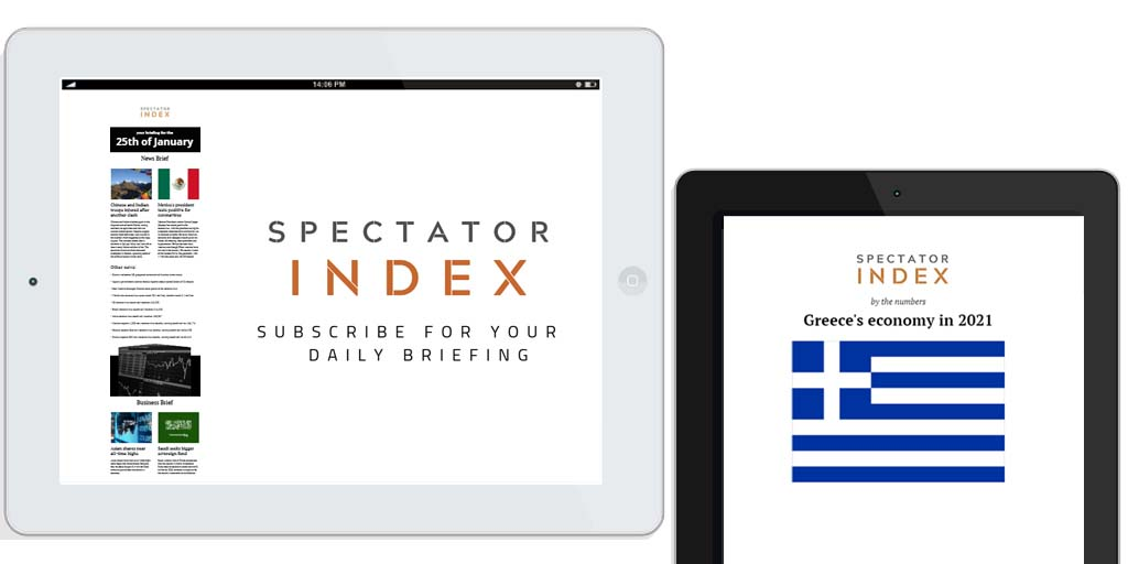 Spectator Index - 25th of January  - Today's news and business briefing  - By the numbers: Greece's economy in 2021  - Market data and summary of study on bee species   - Sent to your inbox today at 9am EST, 1pm GMT  Subscription link: