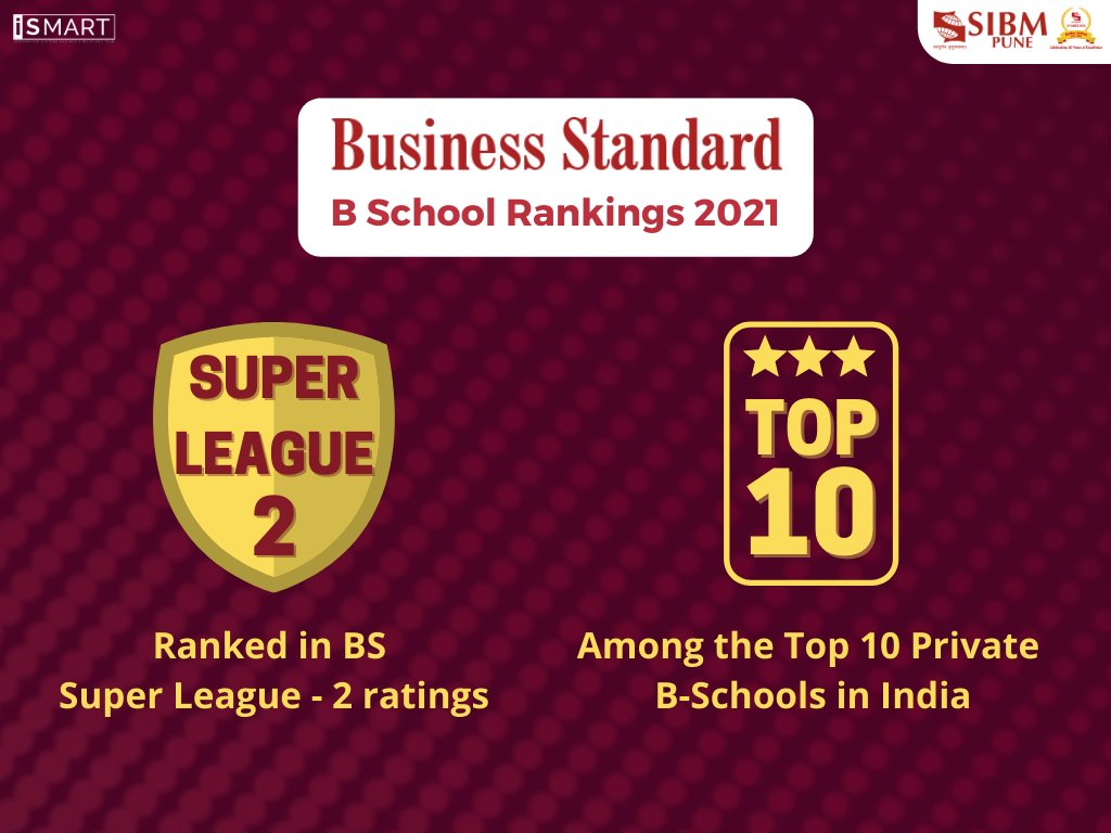 We are elated to share that Business Standard, one of India's leading business dailies, has featured SIBM Pune in the Top 10 Private B-Schools in India as well as in the Super League 2 category of B-Schools in the country.  @bsindia    #SIBMPune #BusinessStandard #BSchool https://t.co/Z84d01jNzu