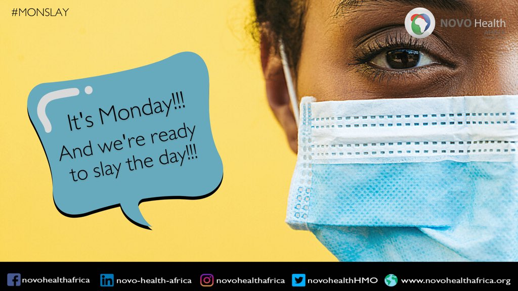 It's another Monday yet again.  And we're ready to slay again.   Have a safe and productive week ahead. Please let's continue to stay safe! 😷   #Covid_19 #Covid #Coronavirus #Vaccine #Monday #Mondayvibes #mondaymotivation #HMOinNigeria #Novohealthafrica #Nigeria #Africa