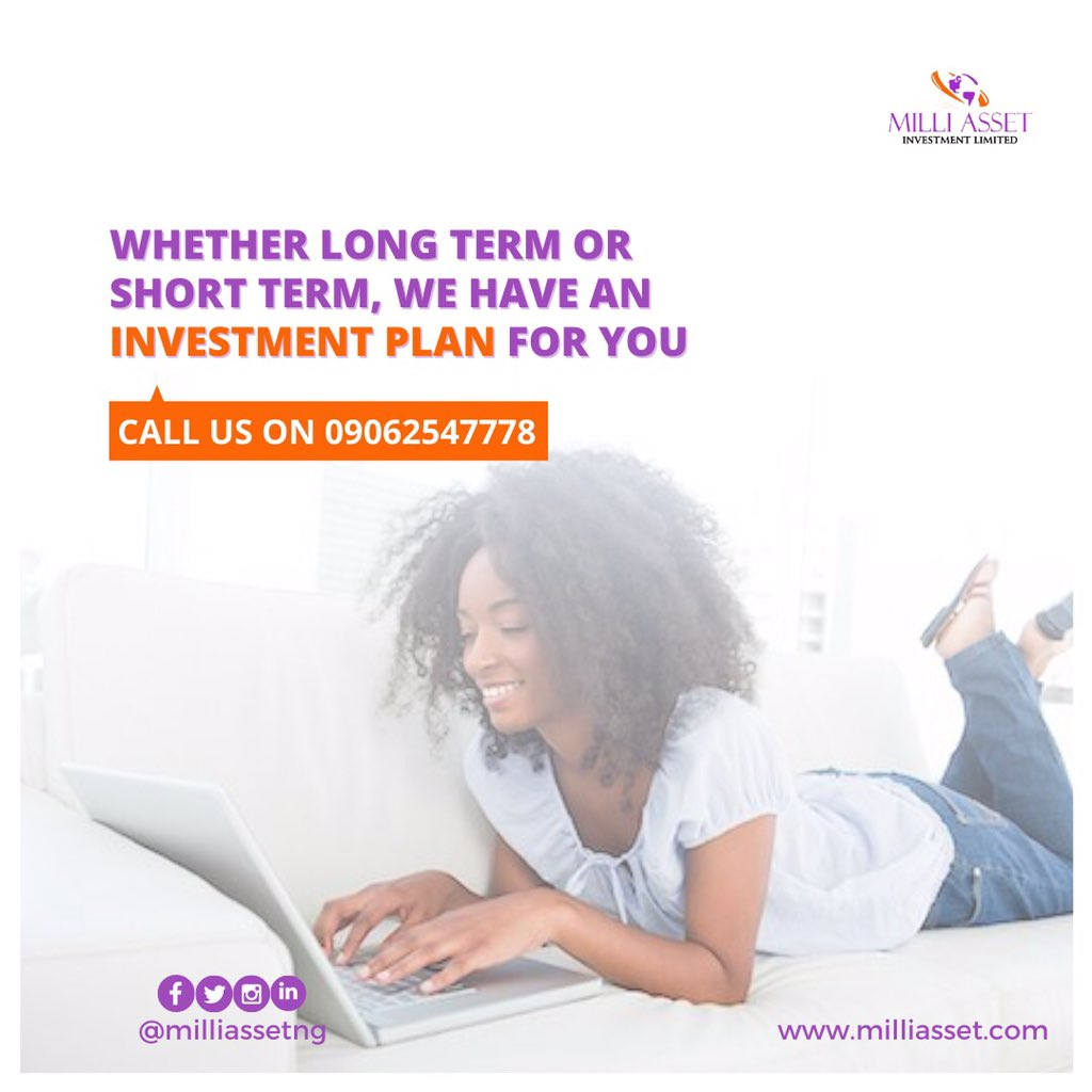 Whether long term or short term, we have a investment plan for you. Call us today.  . . . . . . .  #Milliasset #naijamarket #lagos #nigeria #investment