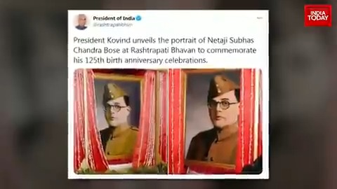 Row over Netaji #SubhasChandraBose's portrait unveiled by the President of India at Rashtrapati Bhavan. @manogyaloiwal tells you more about it. #ITVideo