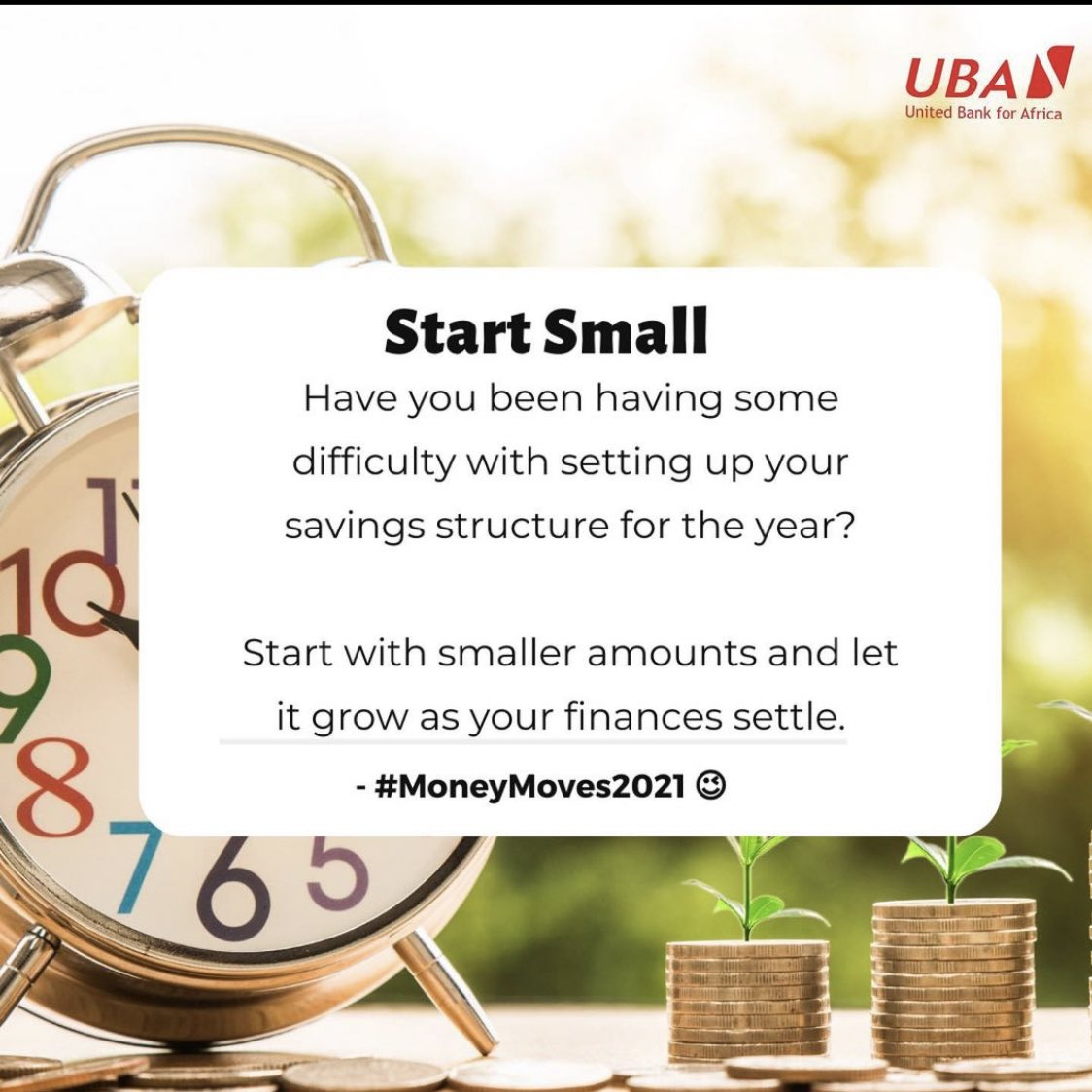 Remember the saying, tiny drops of water, make a mighty ocean. You don't have to be a heavy earner to save for the rainy day.  Just take it one step at a time, save what you can today and build it up as the year unfolds 😉 #MoneyMoves2021 #UBACares #MondayMotivation