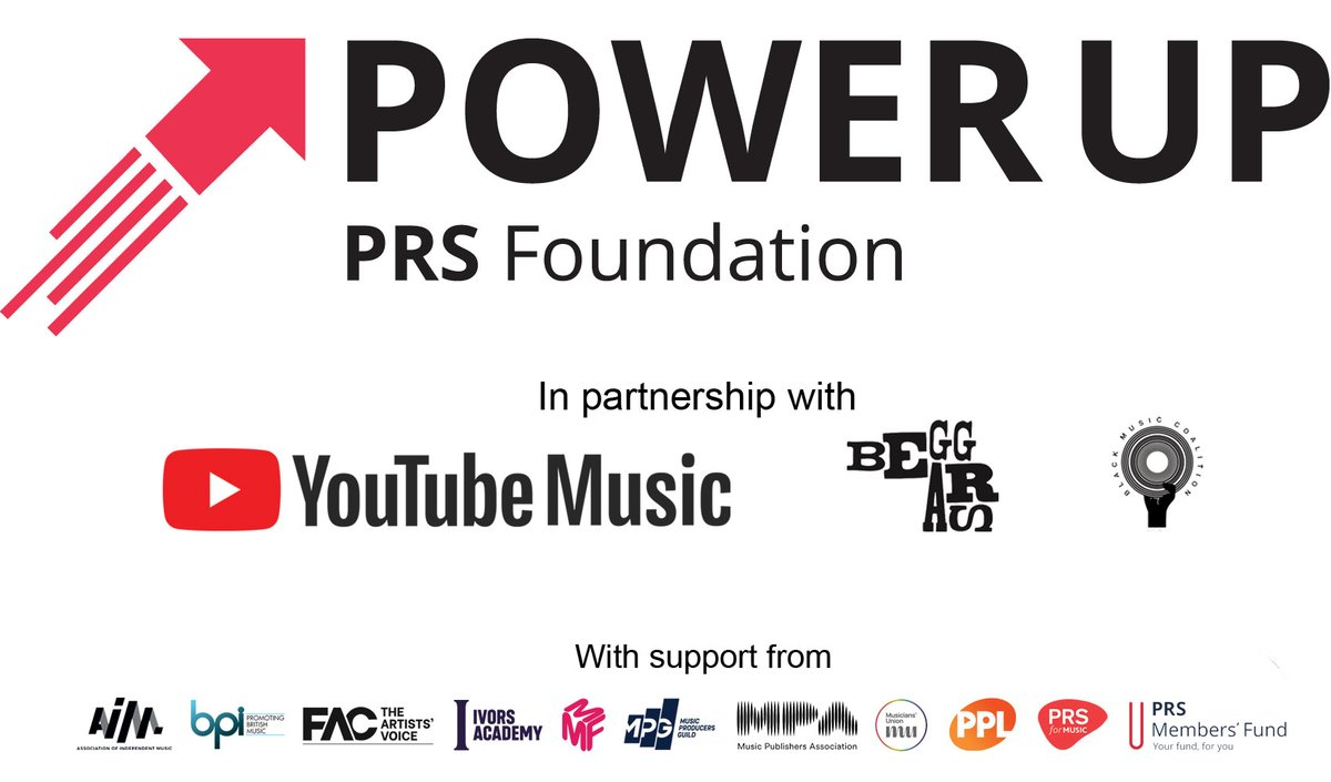 Power Up brings many in the music industry together, incl' @AIM_UK @bpi_music @FeaturedArtists @IvorsAcademy @MMFUK @the_MPA @ukMPG @WeAreTheMU @PPLUK @PRSforMusic @prsfund whose support for participants will help #PowerUp Black creators & industry professionals @TimeToPowerUp_