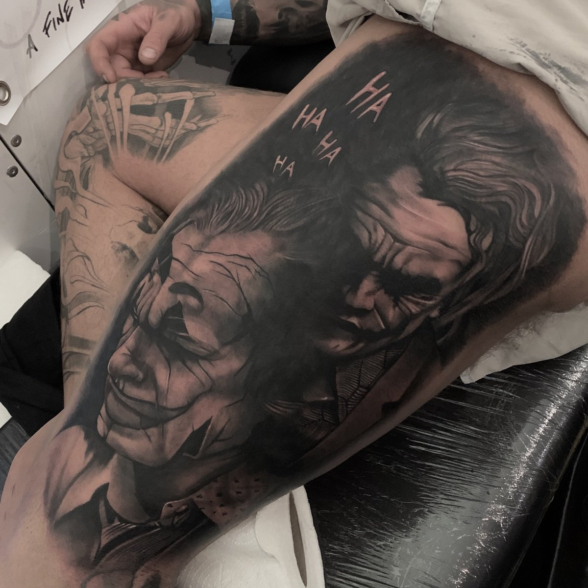 From 2019 #tattoo #jokertattoo #batman #dccomics #tattooartist #blackandgreyrealism #blackandgreytattoo #realism #art