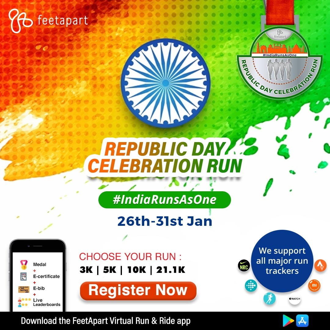 Celebrate Republic Day this year by lacing up for this unique virtual run #IndiaRunsAsOne🏃♀️🏃♂️ Download the app at  to experience a truly virtual running experience🙂  #RepublicDay2021 #fitindiamovement #running #fitness
