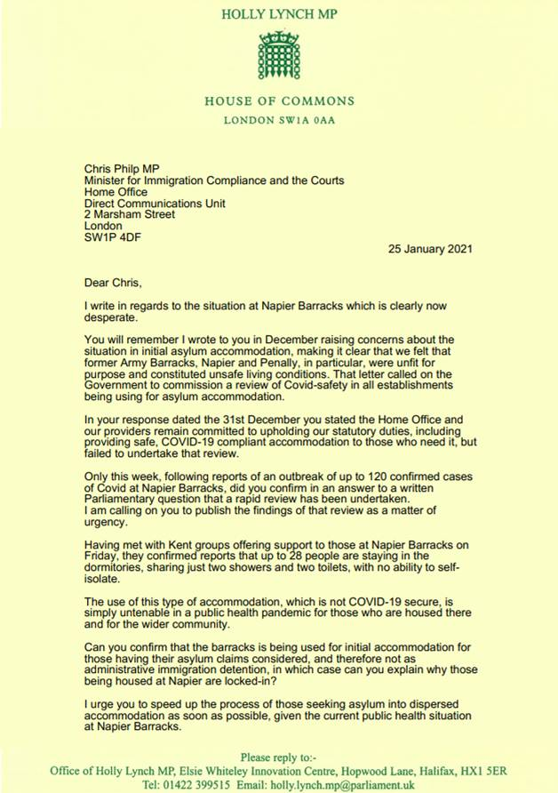 The situation at Napier Barracks is clearly now desperate. You can read my letter to the Minister here;