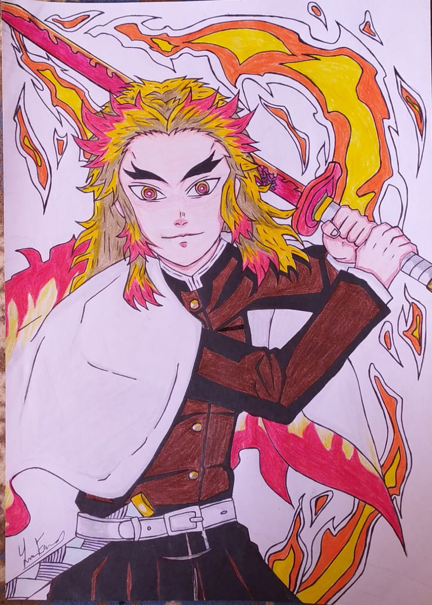 🧡❤️ #rengoku_kyojuro #rengoku #flame_pillar #DemonSlayer #kimetsunoyaiba #kimetsunoyaibathemovie #mugentrain #drawing #AnimeArt #anime #قاتل_الشياطين #رسمتي #رسم #انمي #مانجا
