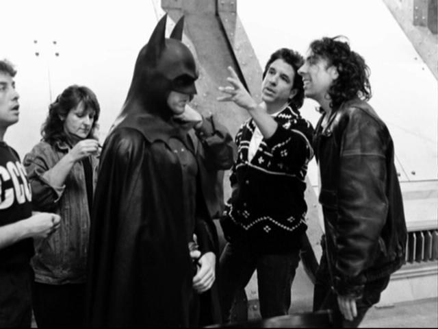 Batman (1989) Starring Michael Keaton. Directed by Tim Burton produced by Jon Peters also seen pictured.  #Movies #ShotOnWhat #Batman #Superheroes #FilmFan #BehindTheScenes #Filming