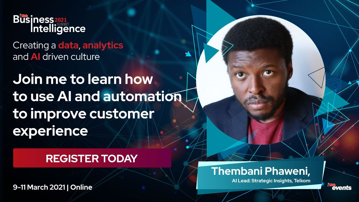 "I'll be talking about ""Using AI and automation to improve customer experience"" at the upcoming Business Intelligence Summit by @ITWeb_Events. Catch me between 9-10 March 2021 for this annual event.   Follow #ITWebBI2021 for updates.  #DataScience #Chatbots #AfricaTech #NLProc https://t.co/JT7DGIF6wp"