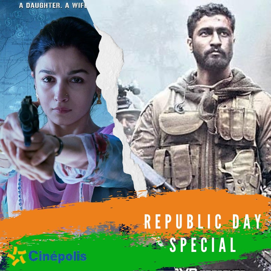 Watch the patriotic masterpieces #Raazi and #URI this #RepublicDay at a #Cinepolis near you! Which of these is your pick?  #Cinepolis #CinepolisIndia