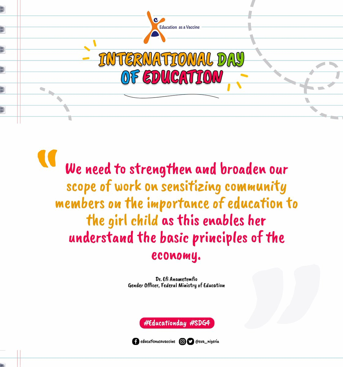 Replying to @EVA_Nigeria   The girl child needs to be educated to acquire skills and knowledge needed to advance her status for social interactions, self- improvement and economy empowerment. @NigEducation  #MondayMotivation #EducationDay