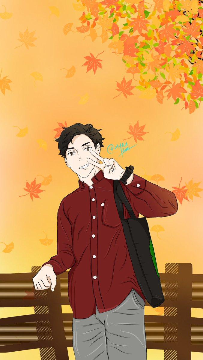 Autumn story  #Fanart #autumn #anime #OC #mahasiswa #Senja #sunset