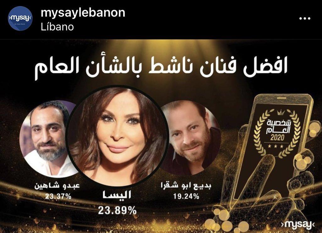 تطبيق #mysaylebanon الاخباري جاء تصويت الجمهور بلقب شخصية العام 2020 بمختلف المجالات حيث كانت النجمة #اليسا و #بديع_ابو_شقرا #عبدو_شاهين افضل فنانين ناشطين في الشأن العام  الاعلى نسبة تصويت النجمة @elissakh 😊