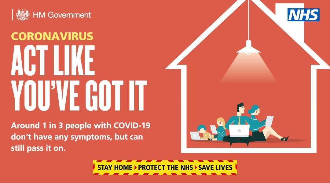 A message from HM Government and the NHS. Coronavirus. Act Like Youve Got It. Around 1 in 3 people with COVID-19 dont have any symptoms, but can still pass it on. Stay home, protect the NHS, save lives.