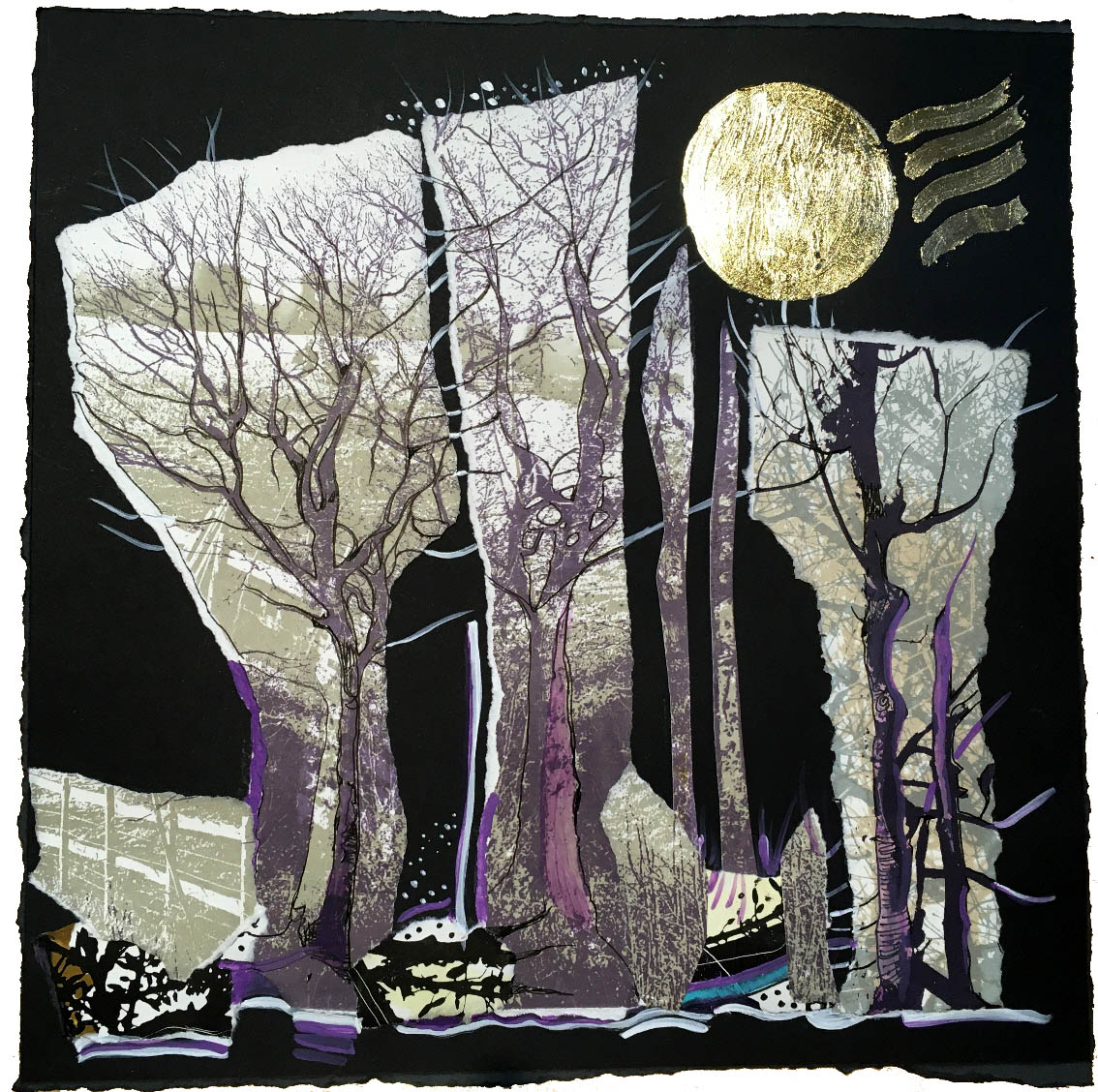 JUST FINISHED SNOW IN THE WOODS Had a great time making a new collage from old prints and added gold leaf yesterday on black paper #Trees #moonlight  #moon #snow #woodland #night #winter #winterwalks #mondaythoughts #stressrelief #ArtistOnTwitter #mystery