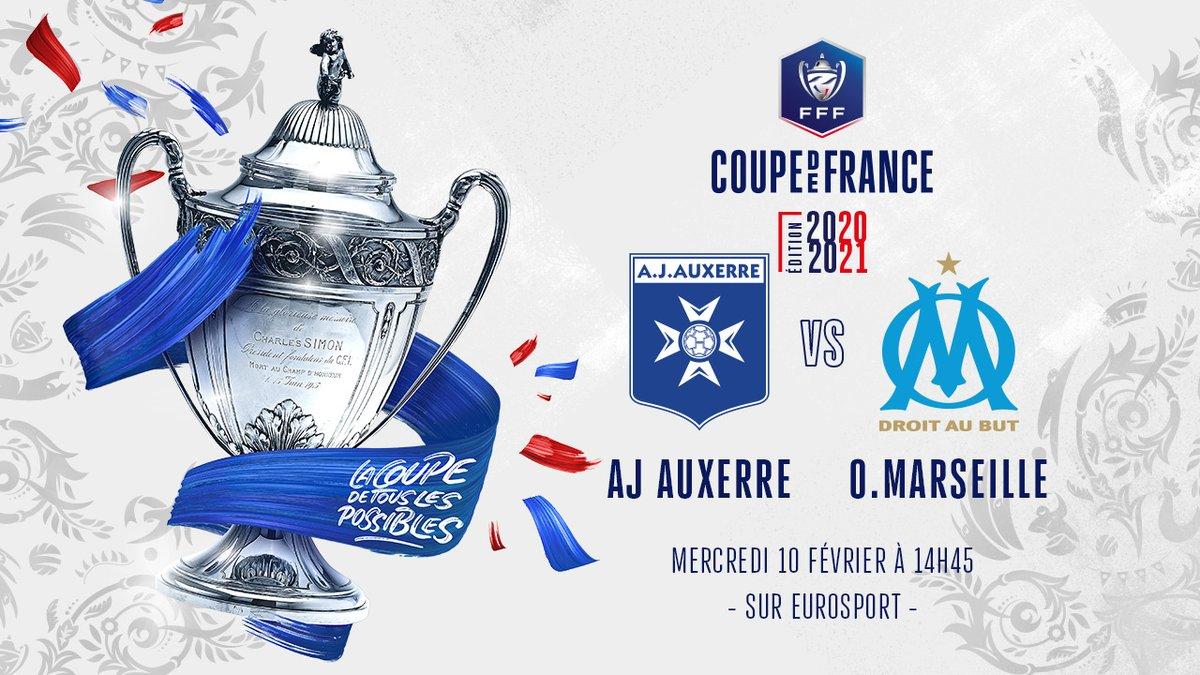 👉 Programmation TV 👈  Les 32e de finale de la #coupedefrance ont été programmés 👊🏽  ⚽️ #TeamAJA 🆚 @OM_Officiel 🏟 Stade Abbé Deschamps 🏆 @coupedefrance 📆 Mercredi 10 février ⌚️ 14h45 📺 @Eurosport_FR  #️⃣ #AJAOM 👊🏽