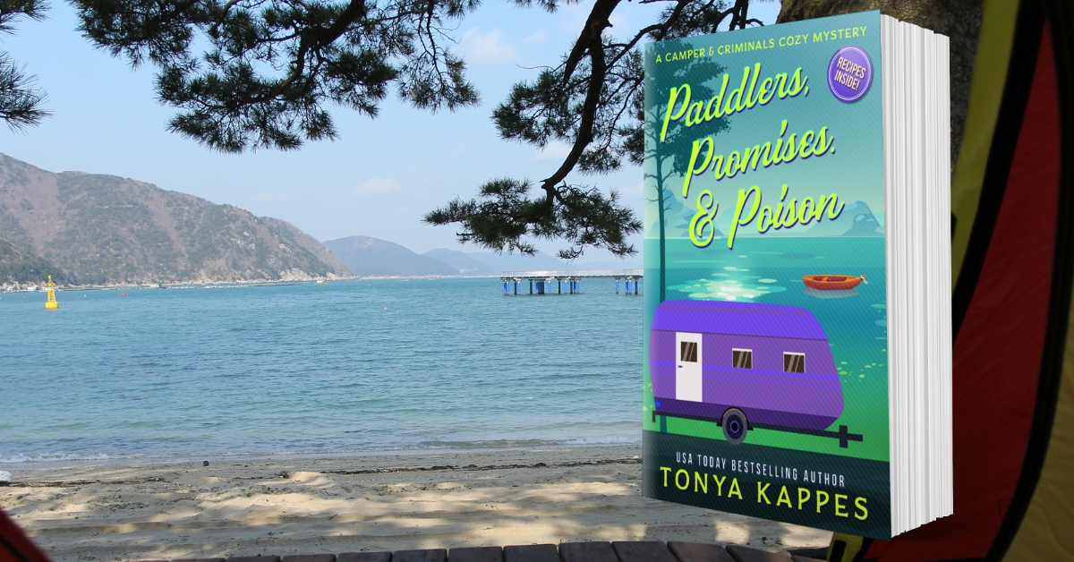 Enjoy a #camping #staycation at Happy Trails Campground!  Paddlers, Promises, & Poison  Preorder today-   Publishes March 25th!  #summer #cozymystery #kindleunlimited #sleuthers
