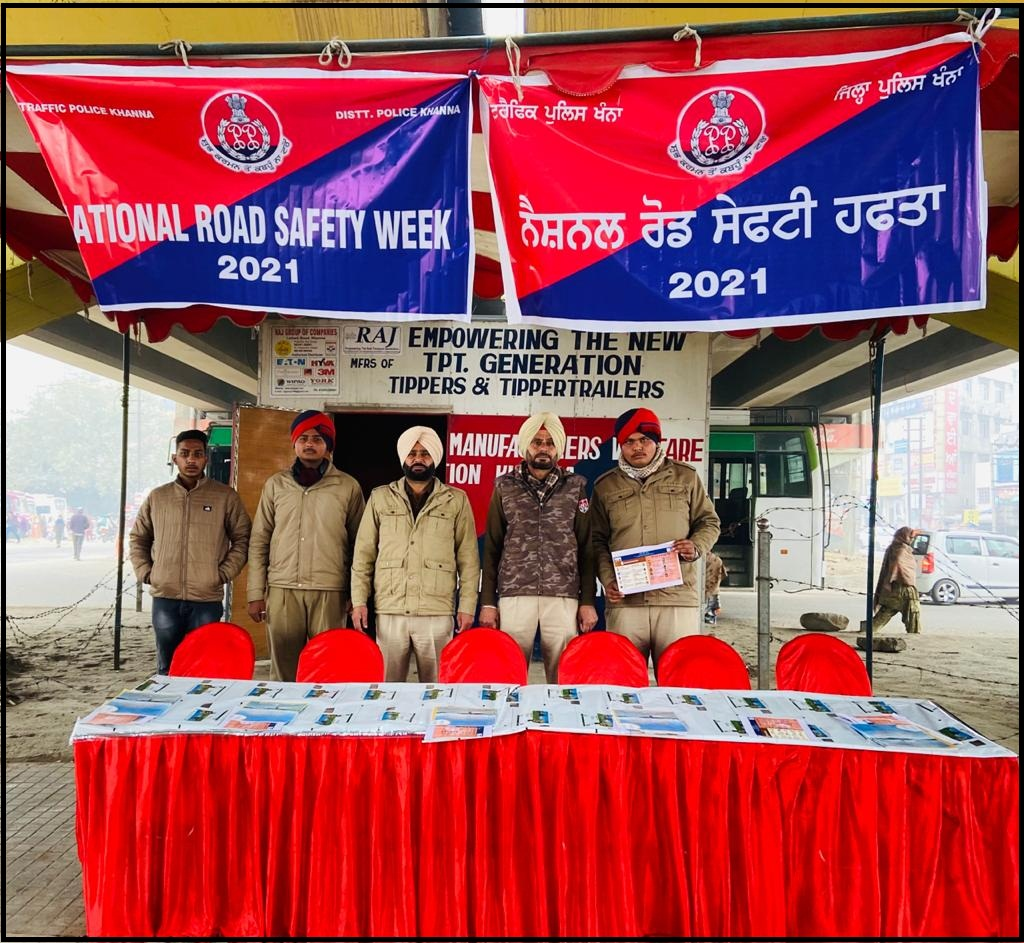 Khanna Police has organized National Road Safety Week and spreads awareness regarding traffic rules. #KhannaPolice #PunjabPoliceInd #RoadSafetyWeek