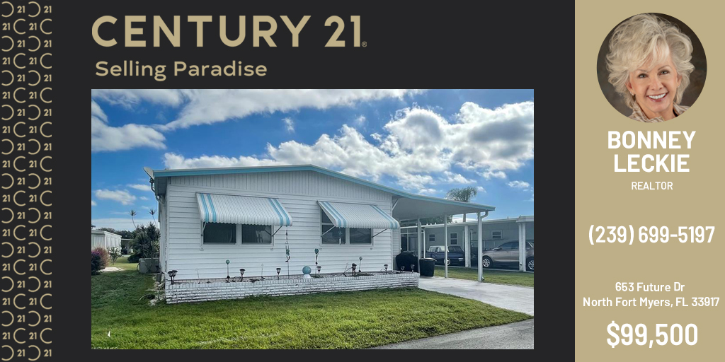 #NewListing: Spacious Doublewide ideally located on a quiet street with no thru-traffic in beautiful Lazy Days Mobile village! For more info, please call Bonney Leckie at (239) 699-5197.  #C21SP #century21 #sellingparadise #realtor #realestate #C21SP2021 #C21SP2021Listings