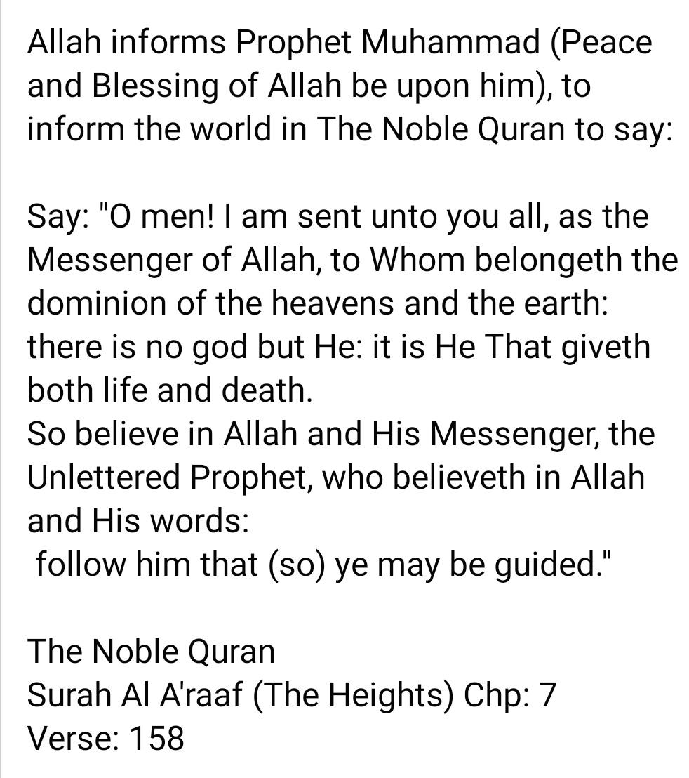 The Noble Qur'an. Surah Al-A'raaf (The Heights) Ch: 7, V: 158 #QuranHour #bbtvi #AKPdenvazgectim #ดีเจมะตูม #toprwino #AttackOnTitan #coronaprotest #ZeroCovid #محمد_المؤمن #technoatebacon #الشتاء_يبيله #BTS_BE #homeschooling #JUNGKOOK #Enschede #Covid_19