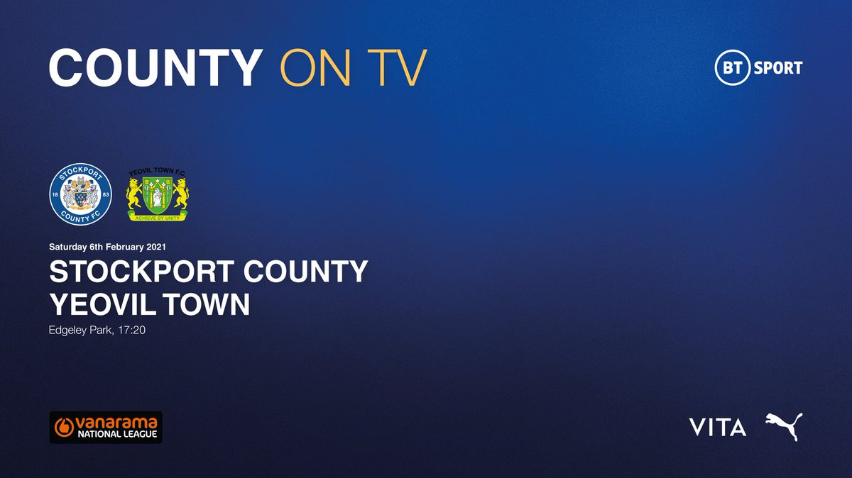 COUNTY ON TV  Our home fixture against @YTFC on Saturday 6th February has been chosen to be televised live on BT Sport, in a 5:20pm kick-off at Edgeley Park.   ℹ️