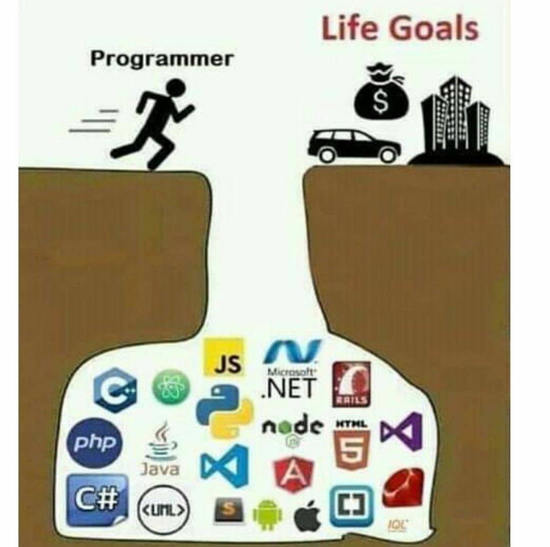 Programmer and their life goals. #100DaysOfCode #Android #Analytics #programming #Developer #programminghumor #memesdaily #mondaythoughts #money #humor