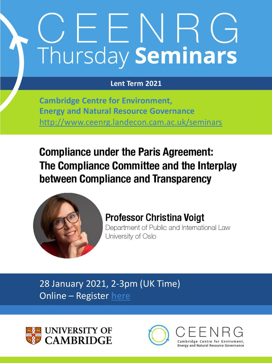We look forward to welcoming Prof @ChristinaVoigt2 of @UniOslo this Thursday, 28 Jan from 2-3pm GMT to discuss '#Compliance under the #ParisAgreement: The Compliance Committee & the Interplay between Compliance and #Transparency'. Register here to attend: