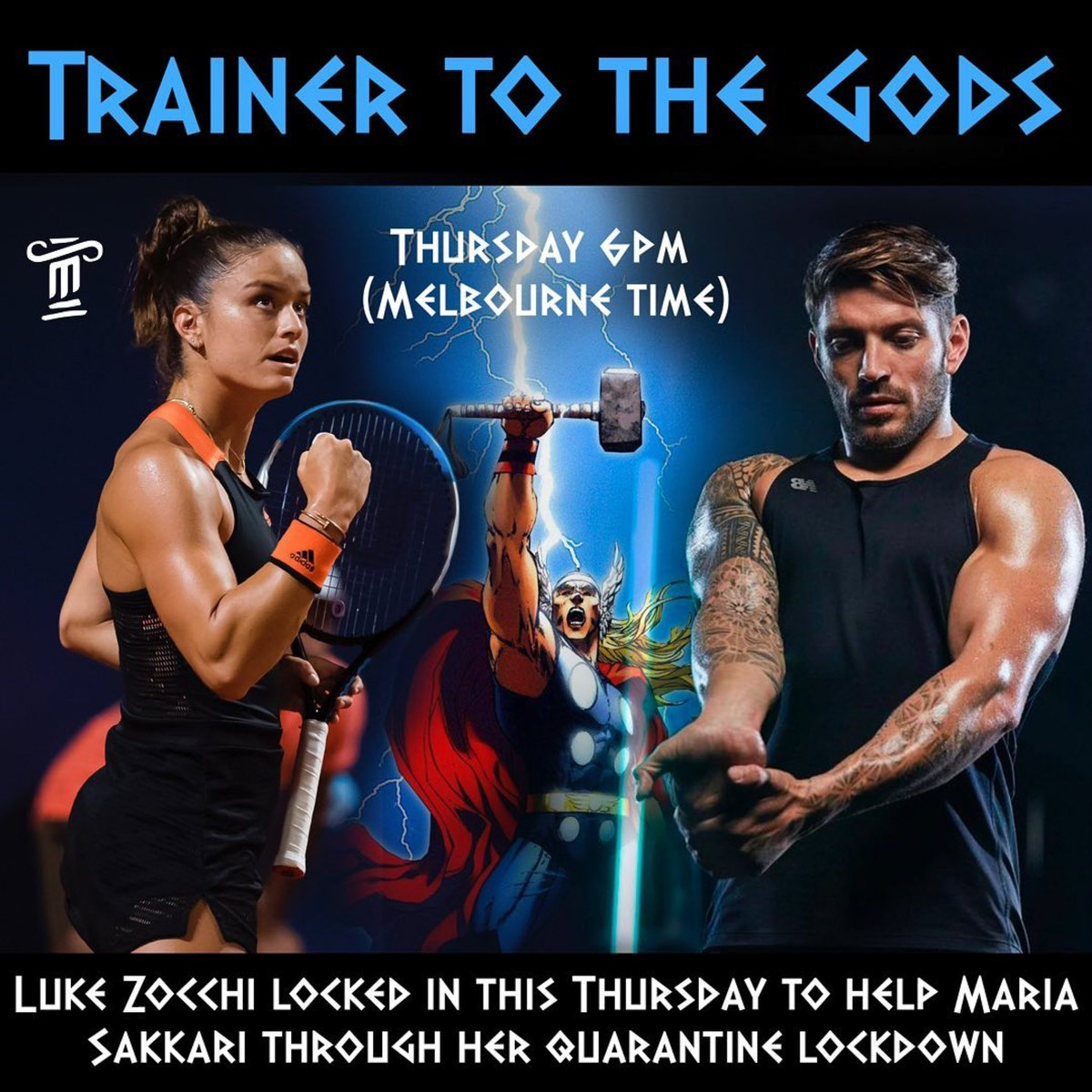 💥 #ClashOfTheTitans: Maria Sakkari X Luke Zocchi in the ultimate Instagram LIVE Spartan workout 🏋️‍♀️ 🏋️‍♂️  Head to @mariasakkari's Instagram 6pm AEDT Thursday for a ringside seat!   #SparringWithASpartan