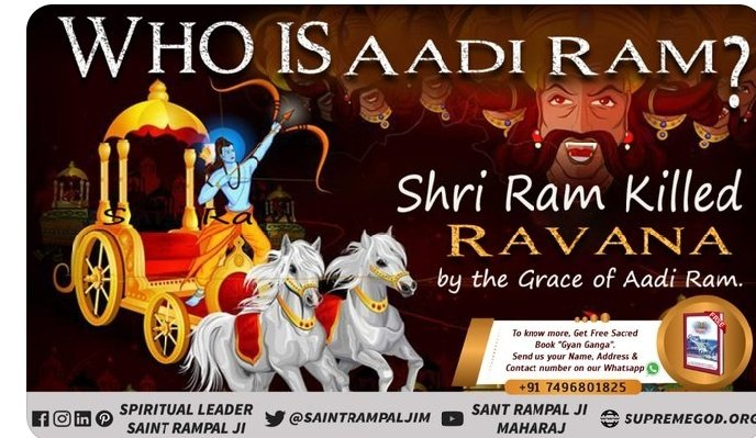 """Shri Ram killed Ravana by the grace of Aadi Ram. Aadi Ram is the Almighty God, eternal God. He is free from birth and death. To know who is Aadi Ram, visit our YouTube channel """"Satlok Ashram"""". #ThursdayThoughts  #GodMorningThursday"""
