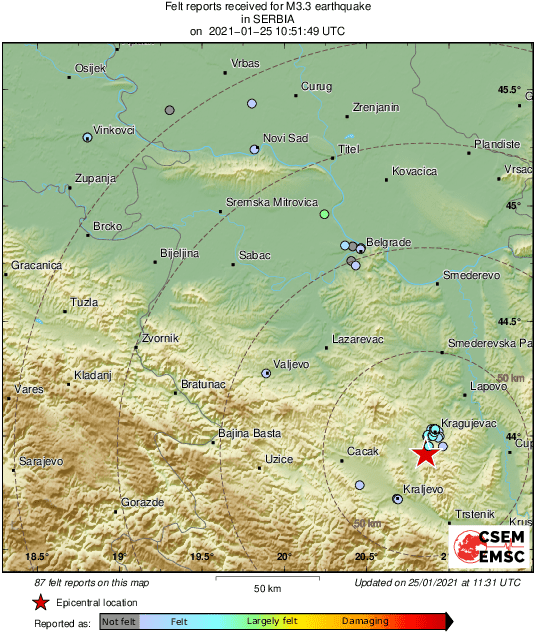 Map of felt reports received so far following the #earthquake M3.3 in Serbia 40 min ago https://t.co/DNiRuaGnJm