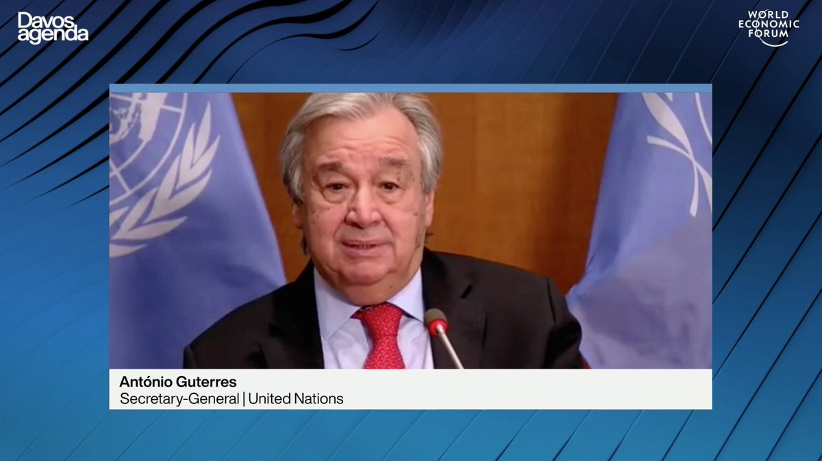 """We must act fast. Vaccine production must be scaled up. Licences must be made available. Affordability must be guaranteed for all. The #COVID19 vaccines must be a global public good,"" says @antonioguterres at @wef.  Watch live 👉🏾  #DavosAgenda"