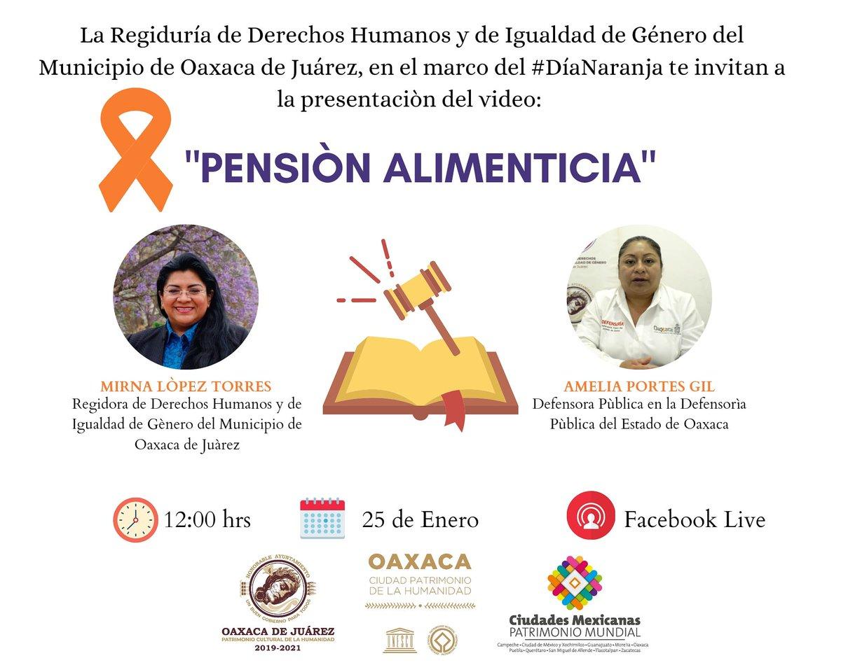 """El Municipio de Oaxaca a través de la Regiduría de #DDHH y de Igualdad de Género, en coordinación con la @defensoria_oax. Te invitamos a qué nos acompañes hoy  25 de enero en el marco del #DíaNaranja a la presentación del vídeo:""""Pensión Alimenticia"""" en punto de las 12:00 hrs."""