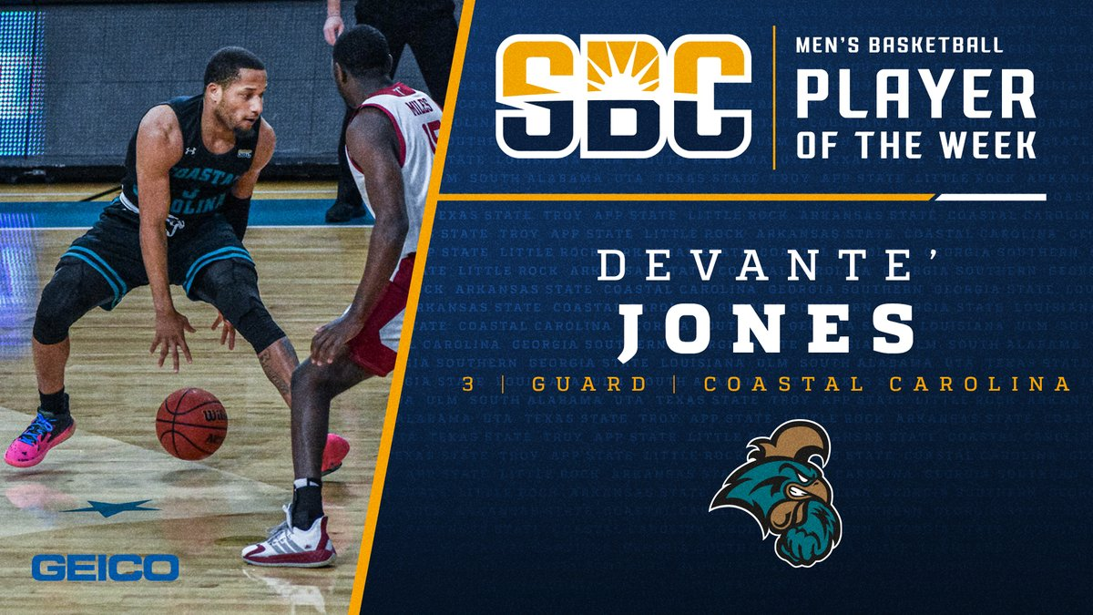 .@CoastalMBB's DeVante' Jones selected #SunBeltMBB Player of the Week for the 2nd time. He scored 2️⃣4️⃣ of his game-high 3️⃣0️⃣ points in the 2nd half to lead the Chanticleers to a come-from-behind 90-81 win over SBC foe Troy. https://t.co/sg04voc9CW Thanks @GEICO https://t.co/9Aa97GEpIt