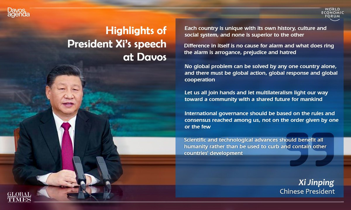 In sharp-toned speech at #Davos, Chinese President Xi Jinping issued a stern repudiation of bullying tactics, economic decoupling and sanctions, which have been pushed by the US under Trump, and offered inclusive multilateral approach for world's problems. https://t.co/W8oszWiPFF https://t.co/UWUrK1NX5W