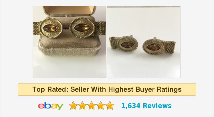 Vintage Swank Mesh Wrap Cuff Links Topaz Gold Tone November #cufflinks #mesh #Birthstone Oval #swank #November